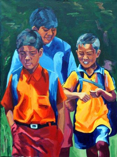 Schulweg in Sulawesi