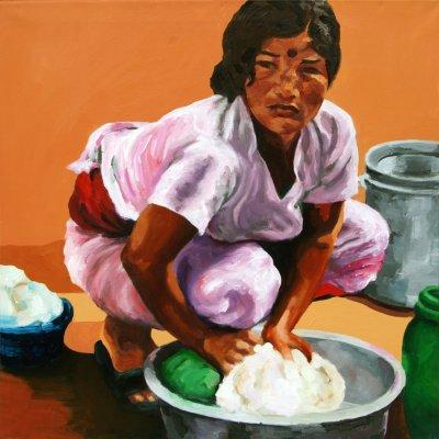 Wäscherin in Nepal